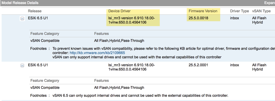 Get Inbox drivers for Storage Controllers with vSAN